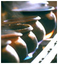 Fresh herbal decoctions being boiled